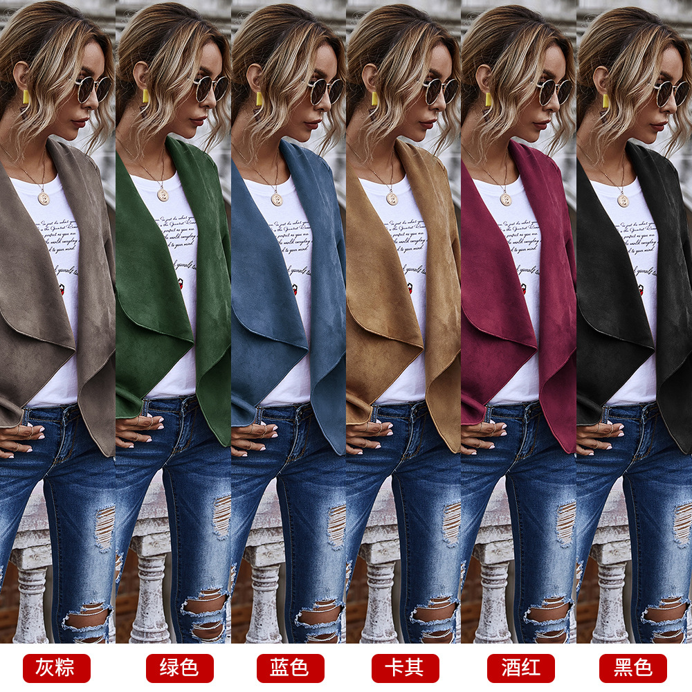 hot sale solid color cardigan large lapel suede super soft long sleeve jacket wholesale NHDF246761
