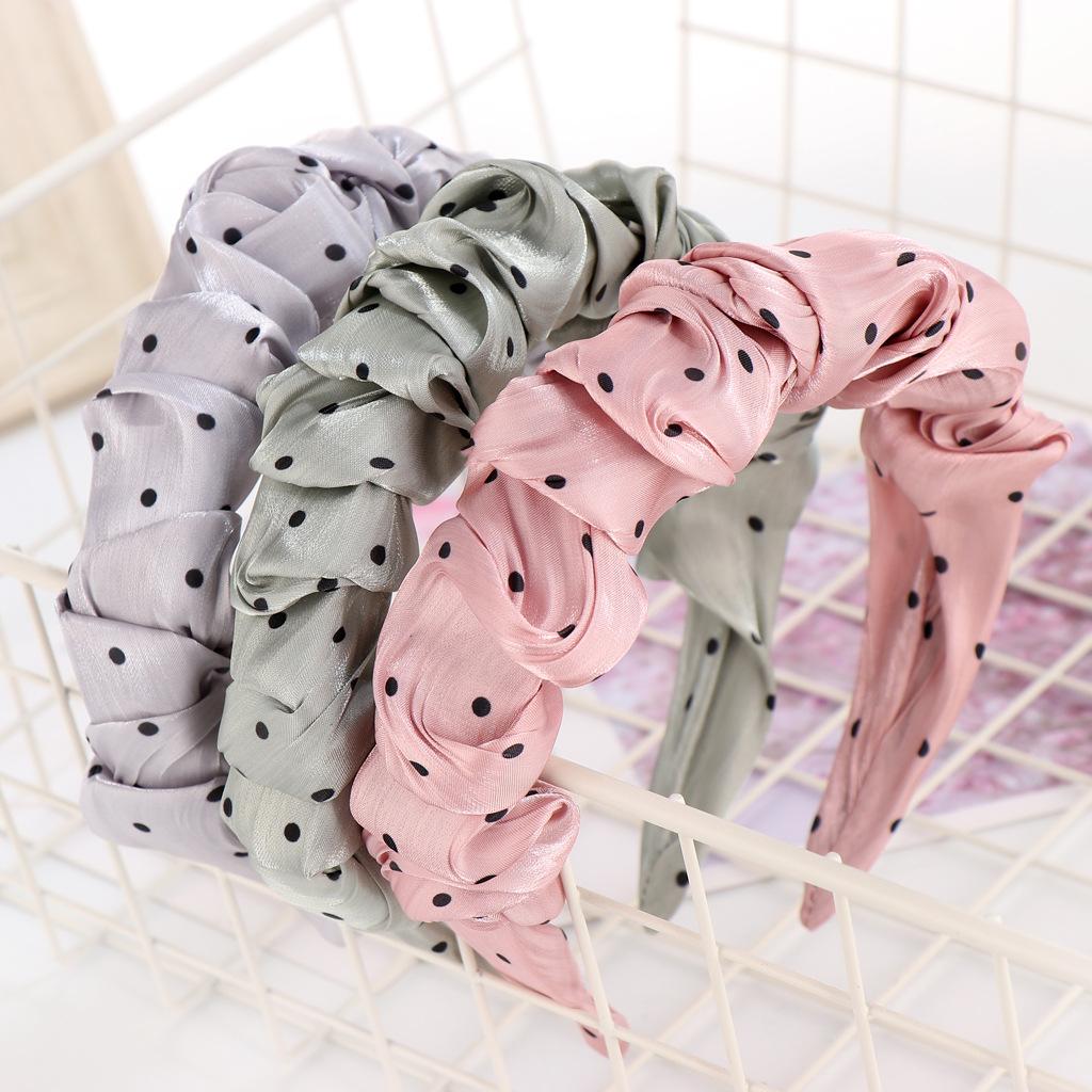 Core polka dot pli bandeau couleur pure bandeau simple mode  la mode pingle  cheveux en gros nihaojewelry NHHV237649