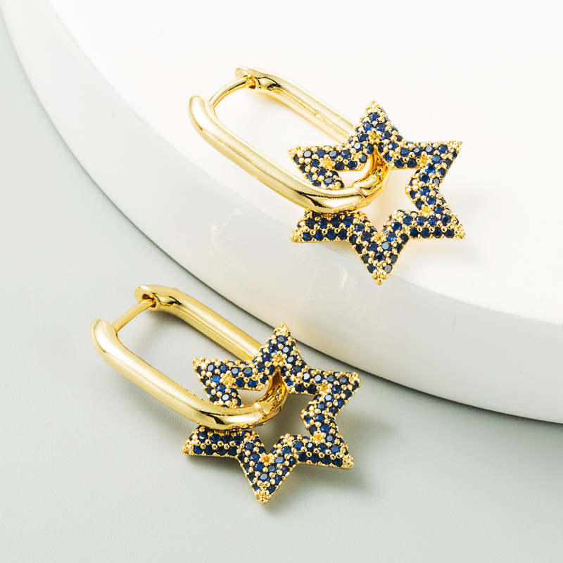 fashion sixpointed star flowershaped copperplated real gold microinlaid color zircon copper earrings NHLN267246