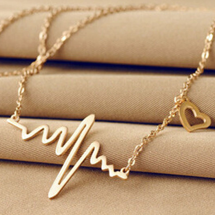 Blue Zhihai Korean Fashion ECG Necklace Imitation Titanium Steel 18K Rose Gold Female Pendant Clavicle Chain Jewelry Silver