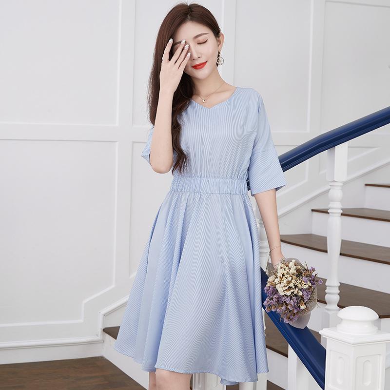 法式条纹复古连衣裙韩版新款女装2020夏季时尚潮中长款裙子夏天