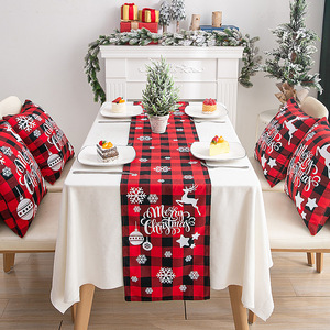 Tablecloth table cloth table cover Christmas ornaments Plaid Art Christmas table flag creative European style Christmas tea table table table