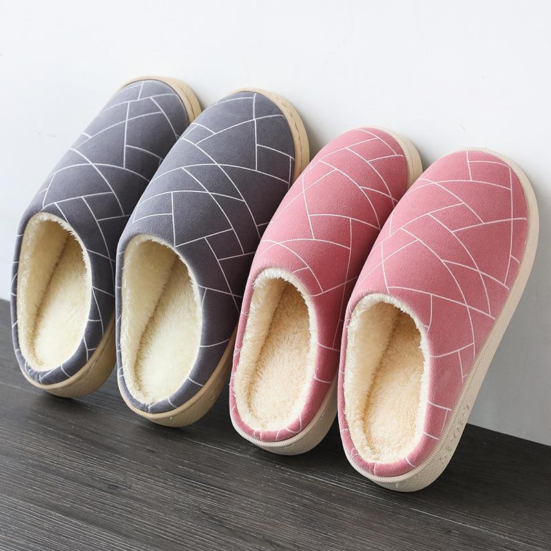 2020 الشتاء النسخة الكورية من الملكية بسيط الإناث سميكة أسفل المنزل الداخلية عشاق العناية بالشعر أحذية للرجال البيت الدافئ القطن نعال