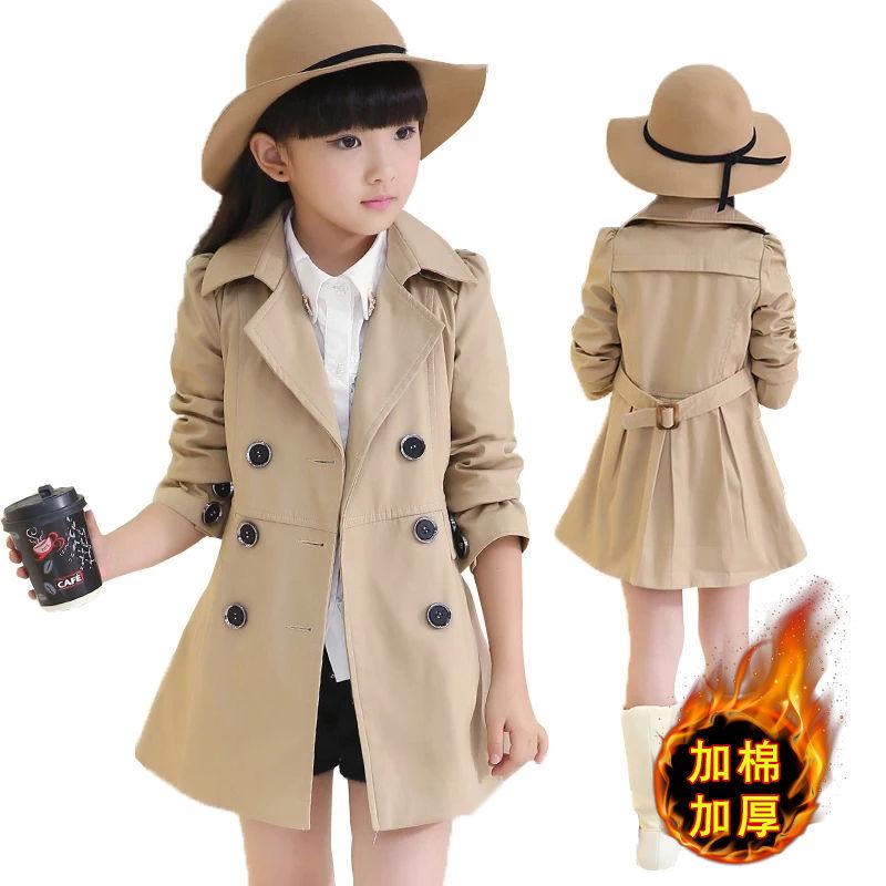 童装女童外套儿童新款韩版棉衣洋气大童风衣中长款春秋冬大衣