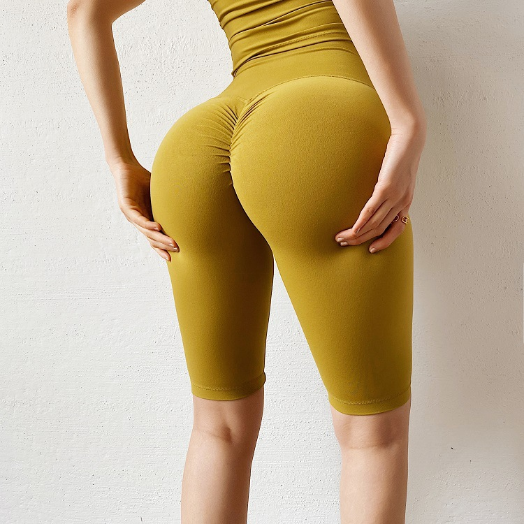 double-sided high waist five-point tight yoga shorts  NSMYY55897