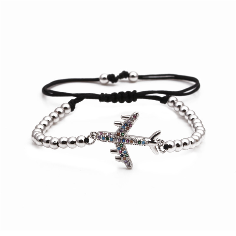 Copper Micro Inlaid Zircon Aircraft Bracelet for Women Weaving Valentines Day Gift wholesales yiwu suppliers  NHYL202947