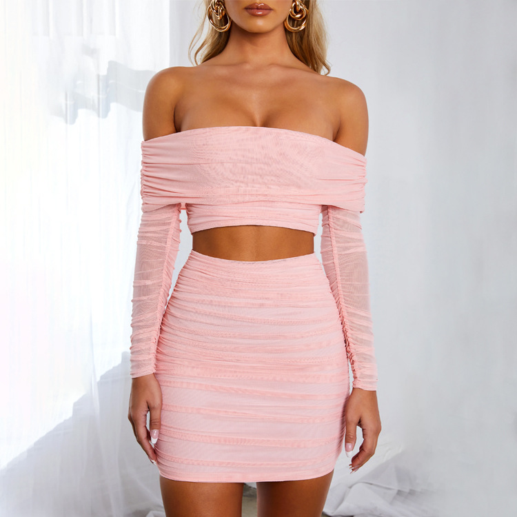 women's pleated Mesh skirt suit nihaostyles clothing wholesale NSDMS77253