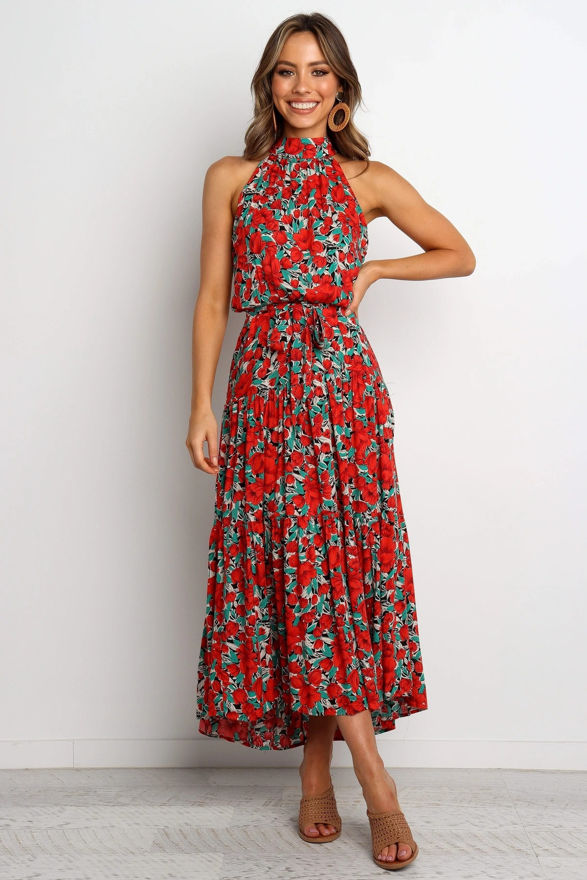 summer new women's skirts mid-length lace-up printed dress NSYD3867