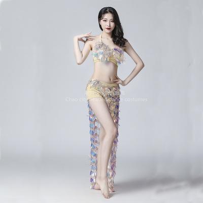 成人肚皮舞表演服 2020新款夏秋季钻花亮片性感舞台演出套装长裙