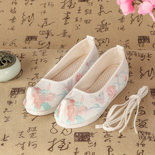 Ancient Chinese hanfu shoes princess fairy cosplay shoes Han dynasty women shoes raised head shoes, ancient opera performance flat shoes