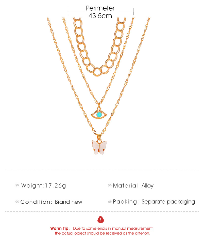 hot sale multi-layer necklace metal thick chain 3 layer green eyes necklace long butterfly sweater chain wholesale nihaojewelry NHDP233638