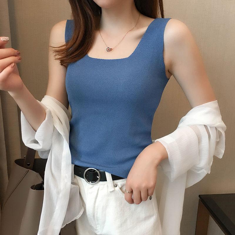 内搭冰丝吊带背心女秋季修身外穿性感无袖针织打底衫上衣一件代发