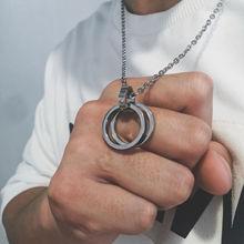 韩版简约双环钛钢吊坠男士嘻哈个性网红戒指项链学生潮人链子挂坠