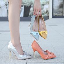 大码高跟单鞋细跟甜美蝴蝶结蛇纹女鞋2020年新款性感女浅口社交鞋