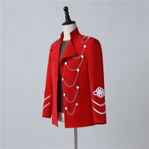 singers stage Performance clothes of male magician band red jackets wedding party groomsman guest stage nightclub coats
