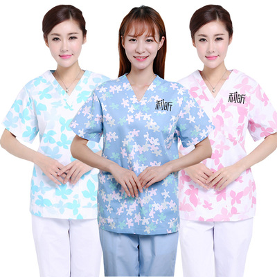 Broken flower nursing sister-in-law work clothes tapestry cotton V-neck obstetric nurse body cover short sleeve hospital care clothes