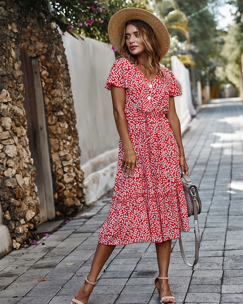 spring and summer small floral red dress NSKA1046