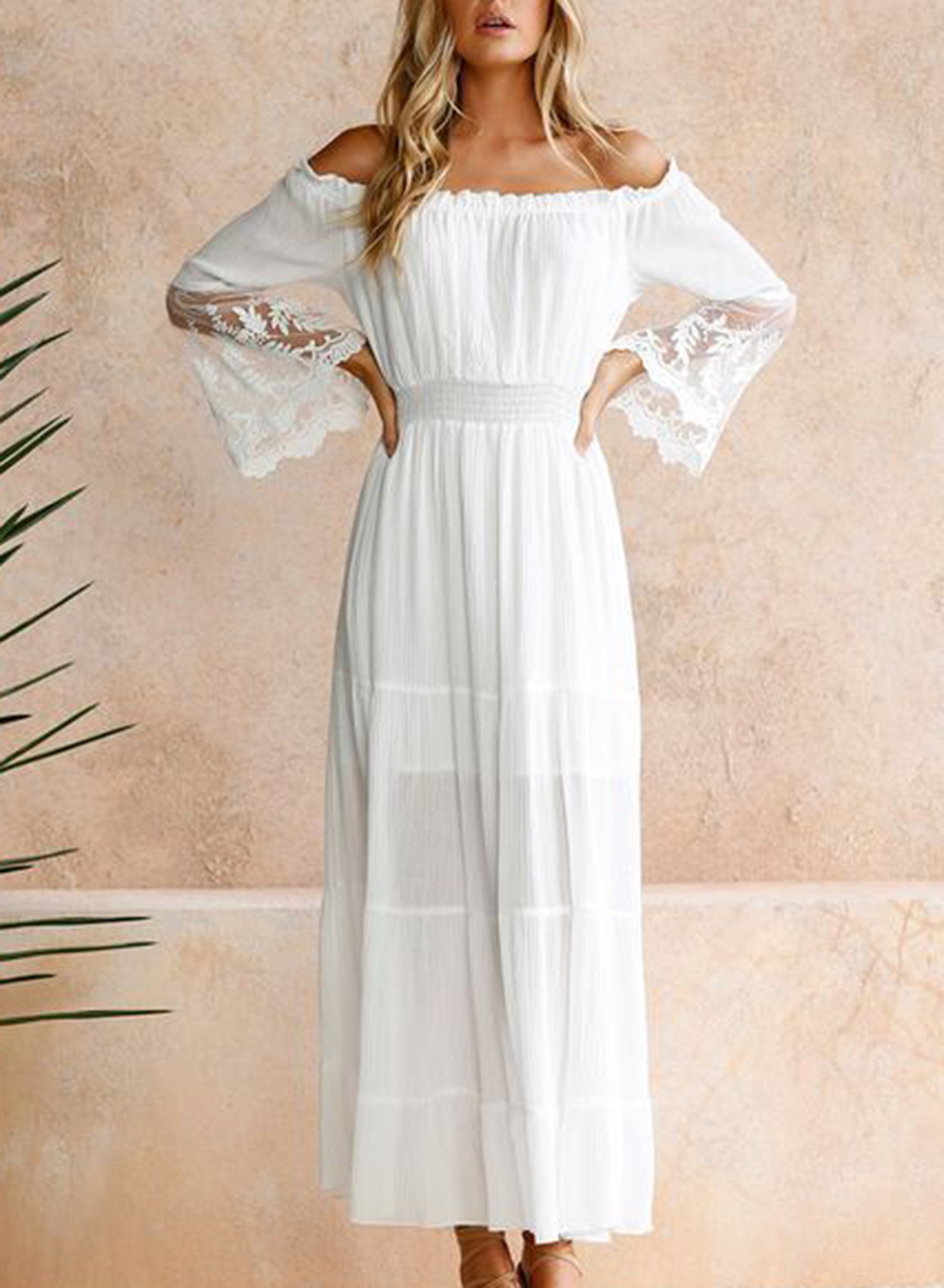 one-shoulder autumn new lace stitching embroidered hollow dress NSSI2441
