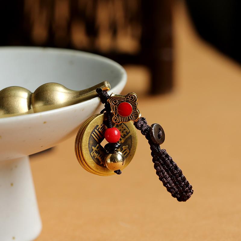 手工纯黄铜高档汽车钥匙挂件小铜葫芦吊坠五帝钱个性创意男钥匙扣