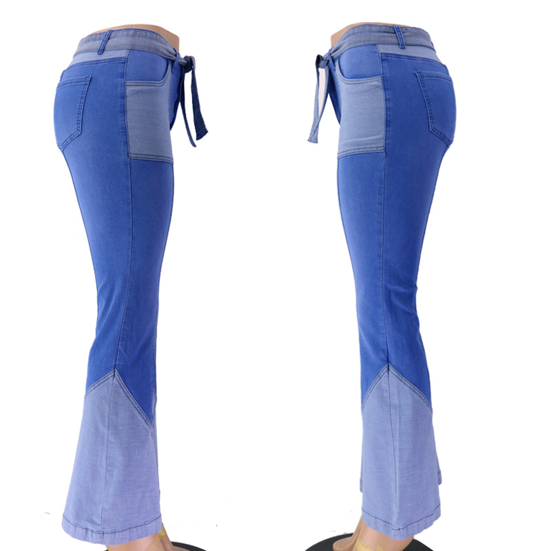 retro high waist two-color stitching belt flared jeans NSYB65106