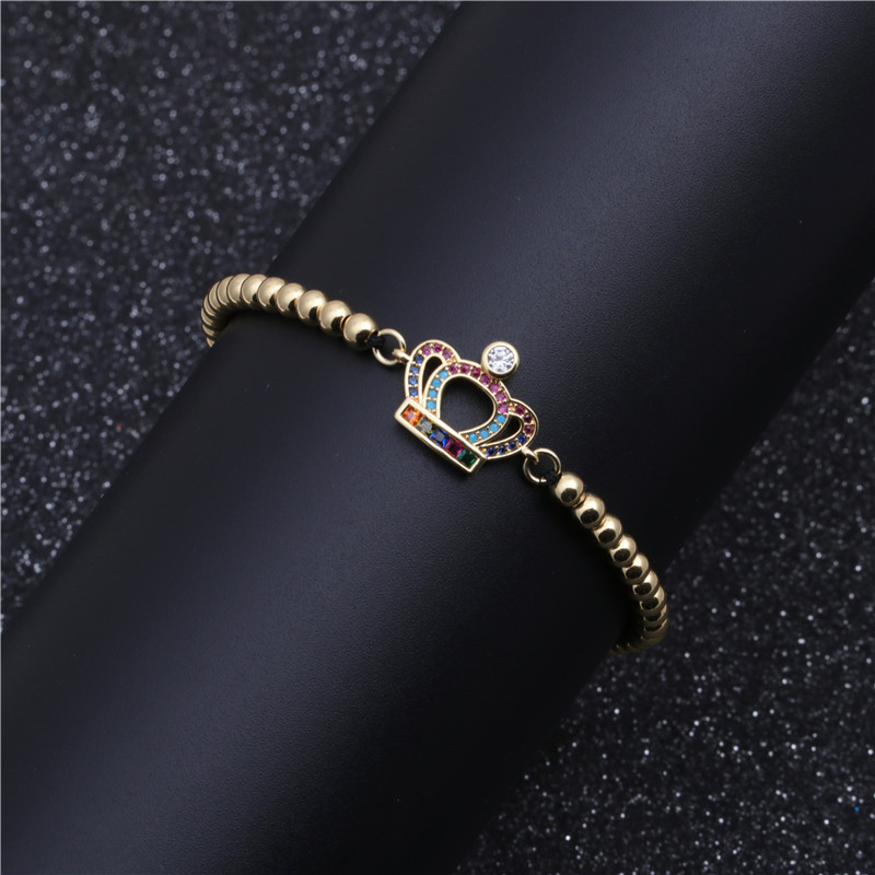 Fashion Copper Micro Inlaid Zirconium Crown Bracelet Women's Woven Bracelet Valentine's Day Gift NHYL199488