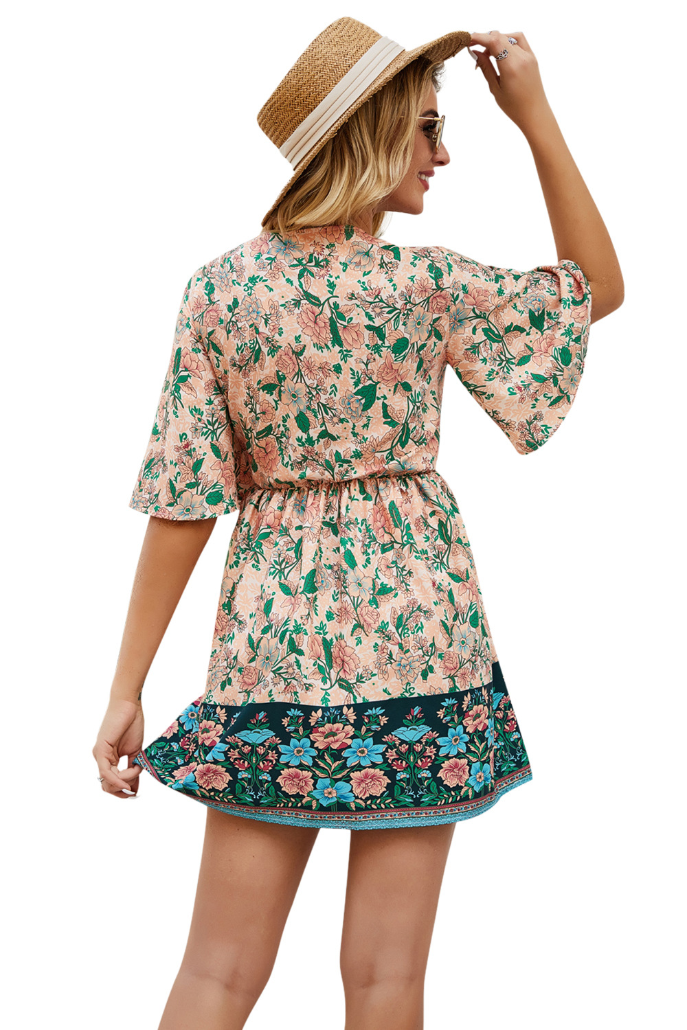 Spring Summer new bohemian resort-style print lace-up V-neck cropped short dress NSDF429