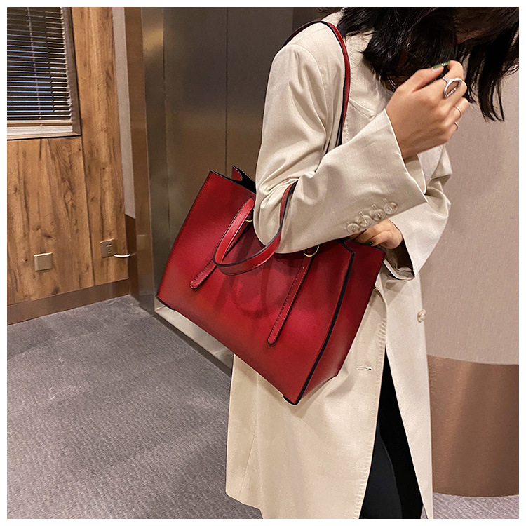 Autumn and winter bag simple and versatile large-capacity casual one-shoulder soft leather handbag  NHLH263435