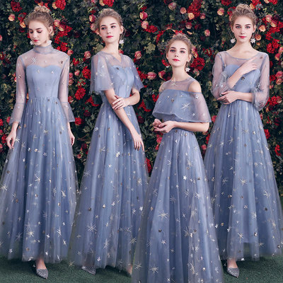 Evening dress Bridesmaid dress long blue fairy Bridesmaid group wedding dress wedding banquet boudoir dress graduation dress