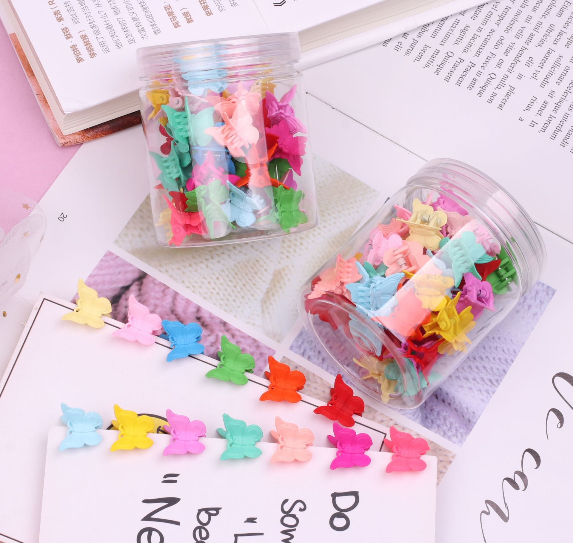 Children's Butterfly Small Catch Clip Girl Hairpin Clip Hair Catch Bangs Clip Small Plate Hair Headdress Hair Accessories 50 Boxes