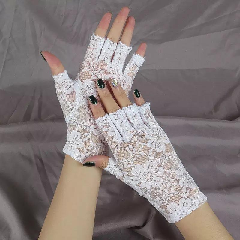 厂家直销夏季蕾丝半指手套韩式女款手套新娘婚礼手套