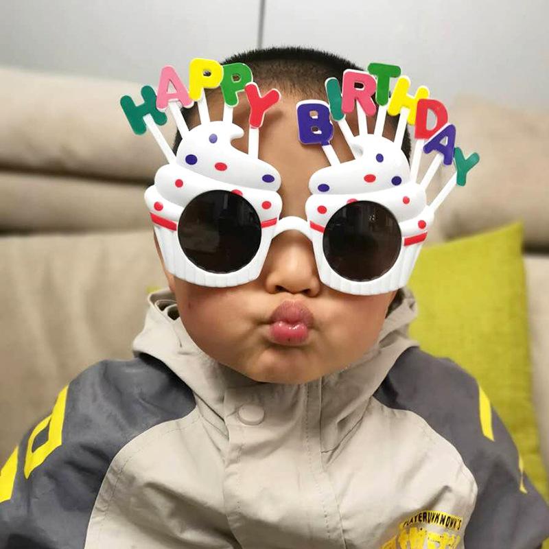热卖地摊网红儿童派对眼镜 字母生日蛋糕搞怪 塑料装饰太阳镜批发