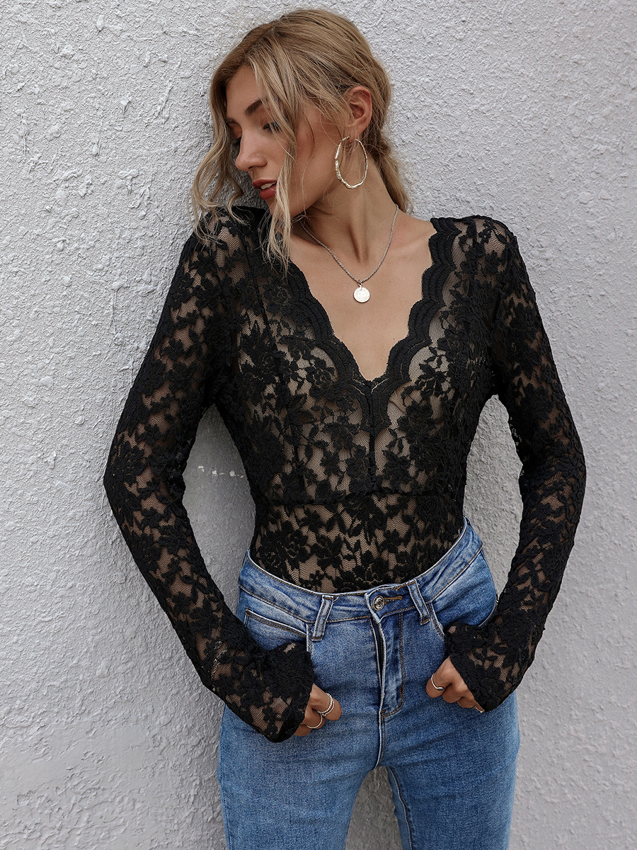 autumn hot sale V-neck short-sleeved lace sexy long-sleeved T-shirt top  NSAL2086