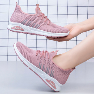 Shoes women 2021 spring new flying woven casual shoes soft sole mother shoes foreign trade women's shoes lace-up sports shoes women