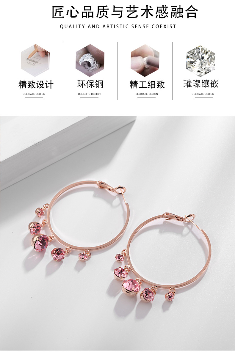 fashion jewelry rose gold trend fashion large circle retro earrings exaggerated design earrings wholesale nihaojewelry NHDO232350