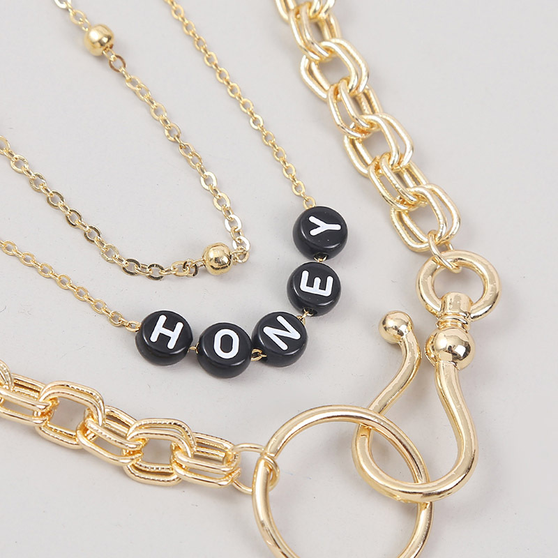 simple exaggerated multilayer punk letter necklace NHLA266111