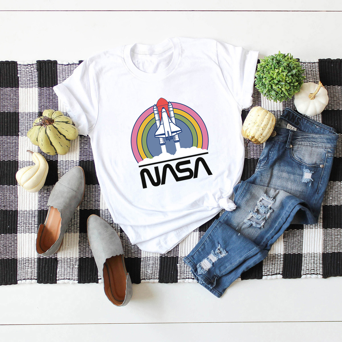 space rainbow printed cotton short-sleeved t-shirt women NSSN2686