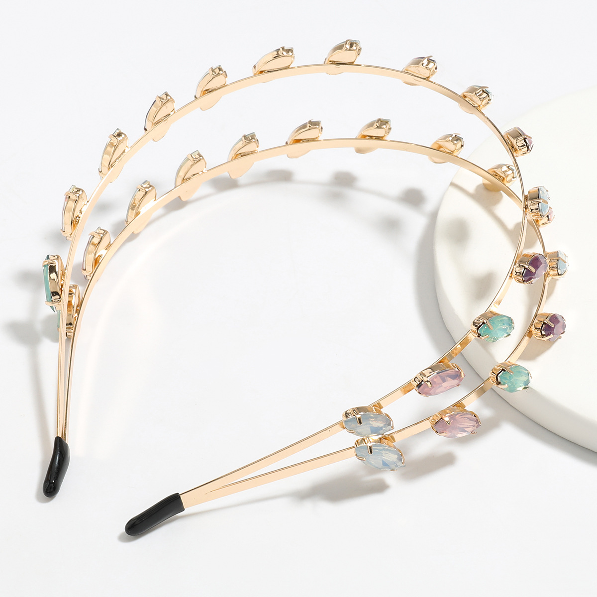 new alloy diamond-encrusted glass double-layer bangs  fashion headband wholesale NHJE251036