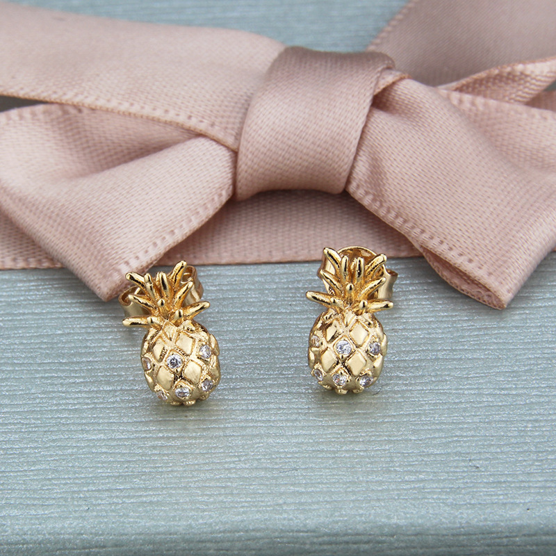 Inlaid zircon earrings with diamonds and pineapple earrings NHBP205848