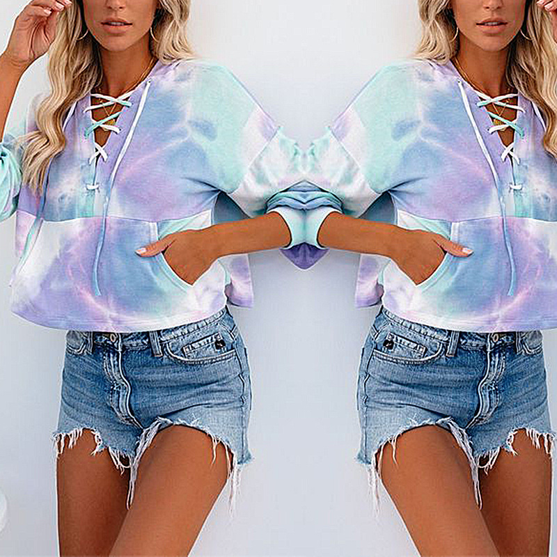 autumn and winter new hot style tie-dye printing long-sleeved hooded lace-up sweater NSKX5813