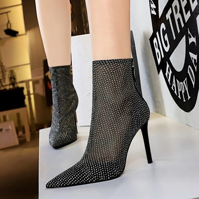 316-1 the European and American fashion sexy nightclub show thin thin with ultra-high net with pointed mesh lace hollow