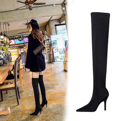 9822-1 in Europe and the wind with pointed sexy high-heeled glass nightclub show thin boots stretch lycra knee-high boot