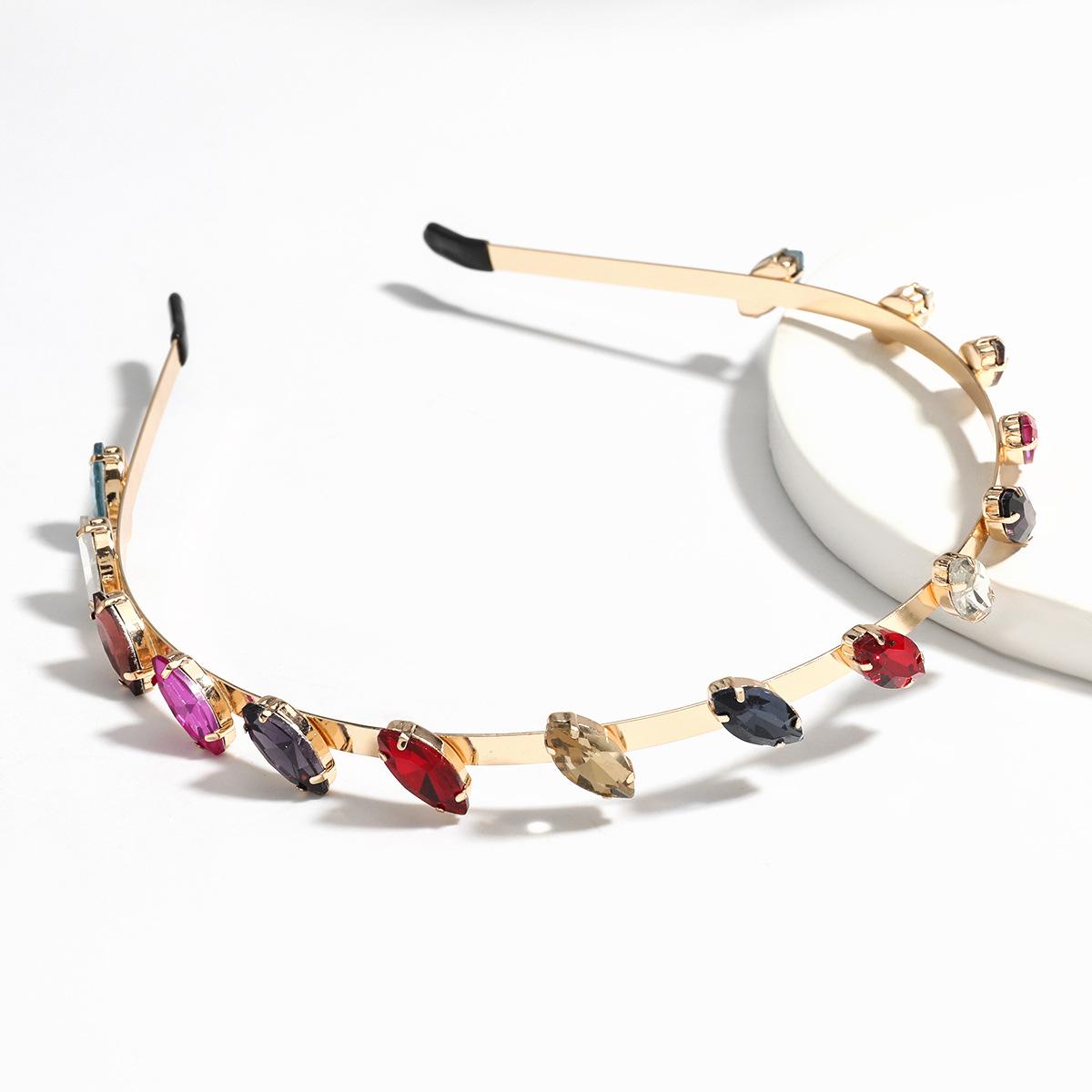 Fashion alloy diamond-studded glass color headband wholesale NHJE249609
