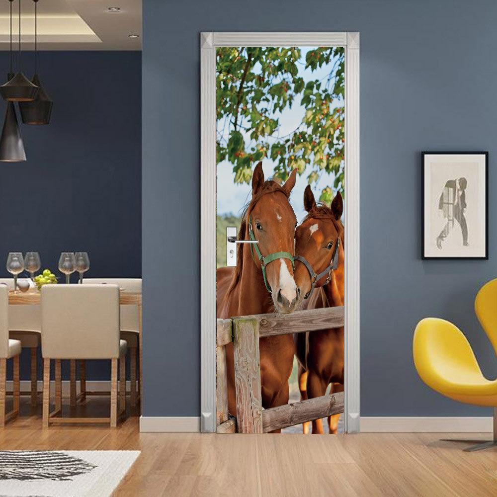 外贸仿真3D骏马门贴 自粘卧室墙PVC贴纸 动物装饰画墙贴