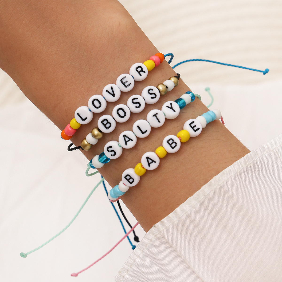 Fashion handwoven multicolored rope beaded Lover Babe fun letter hand rope bracelet  NHPV243708