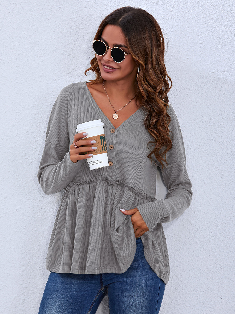 casual V-neck long-sleeved top  NSAL6713