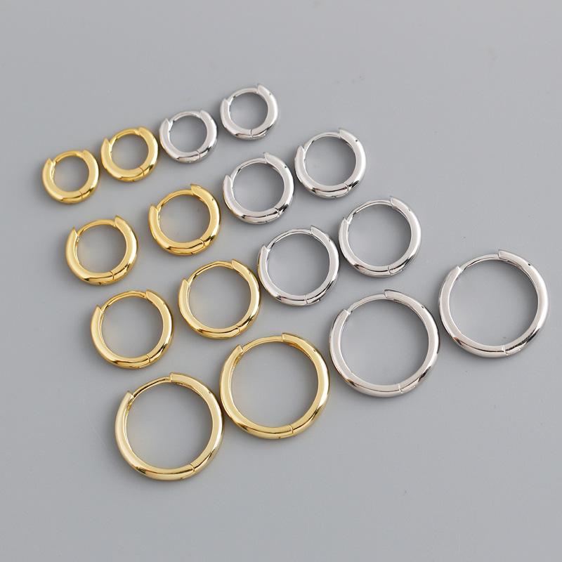 跨境ins时尚个性金色光面圆圈形s925纯银耳扣耳环耳饰女定制
