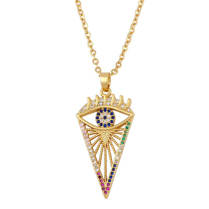 Fashion micro inlaid color zircon necklace simple female wild devil's eye pendant necklace jewelry NHAS200963