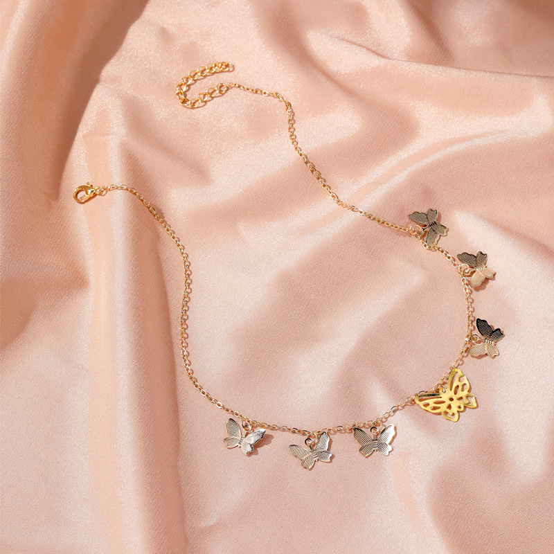 New fashion simple hollow 7 butterfly necklace multilayer pendant clavicle chain nihaojewelry wholesale NHMO213983