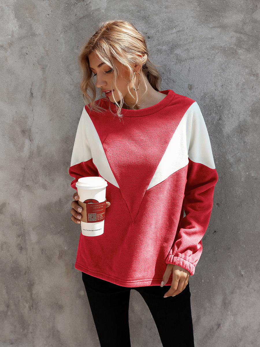 hot-selling autumn and winter women s contrast V-shaped round neck pullover sweater  NSAL1915