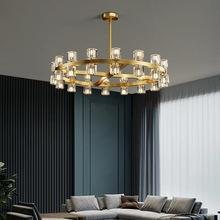 全铜轻奢客厅吊灯后现代简约设计师圆形大气豪华别墅餐厅水晶灯具